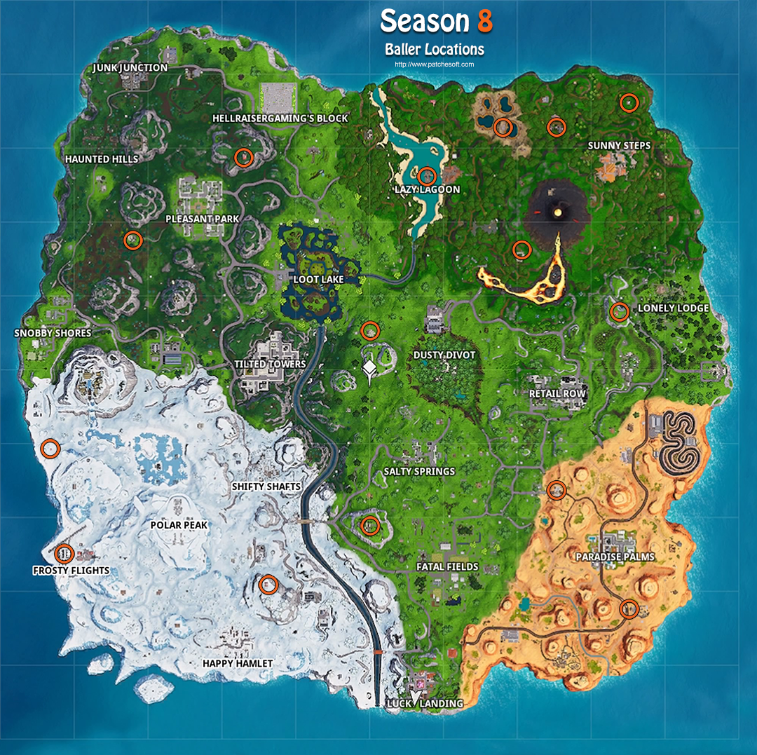 Fortnite Season 8 The Baller Locations