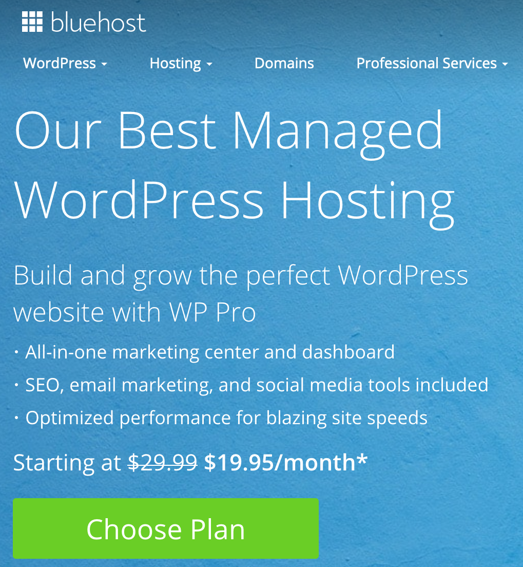 Bluehost WordPress Pro Plans