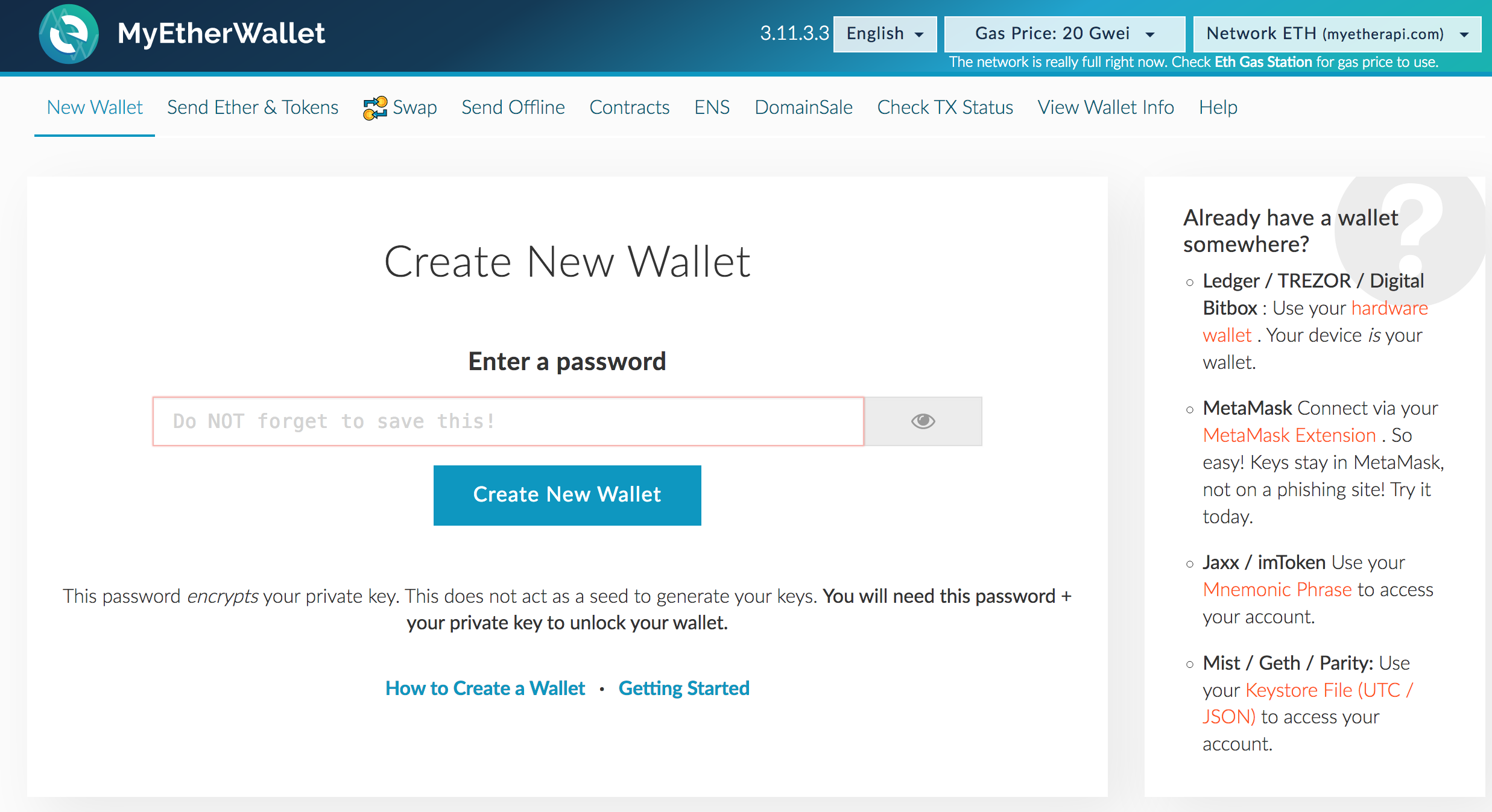 Create New Ethereum Wallet