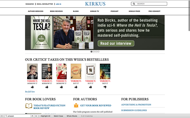 KIRKUS Reviews Amazon Affiliate Site