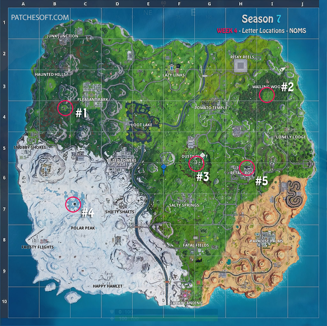 Fortnite Season 7 Week 4 NOMS challenge Letter Locations