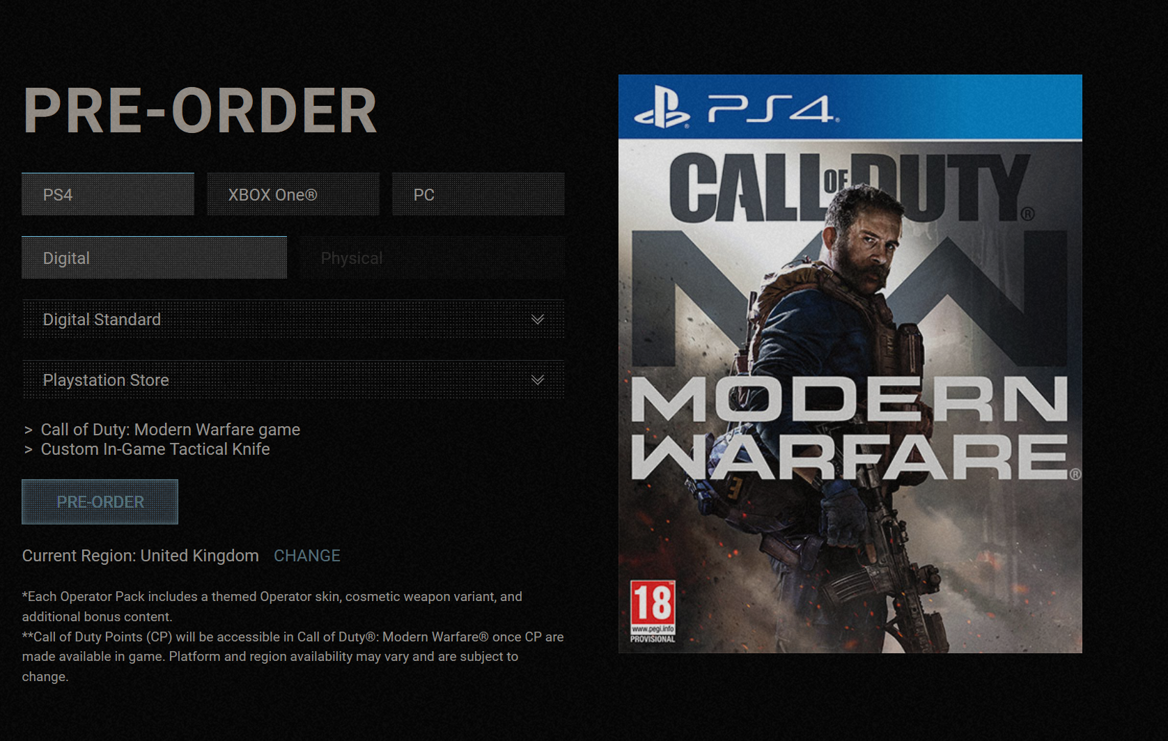 Pre Order Call Of Duty Modern Warfare