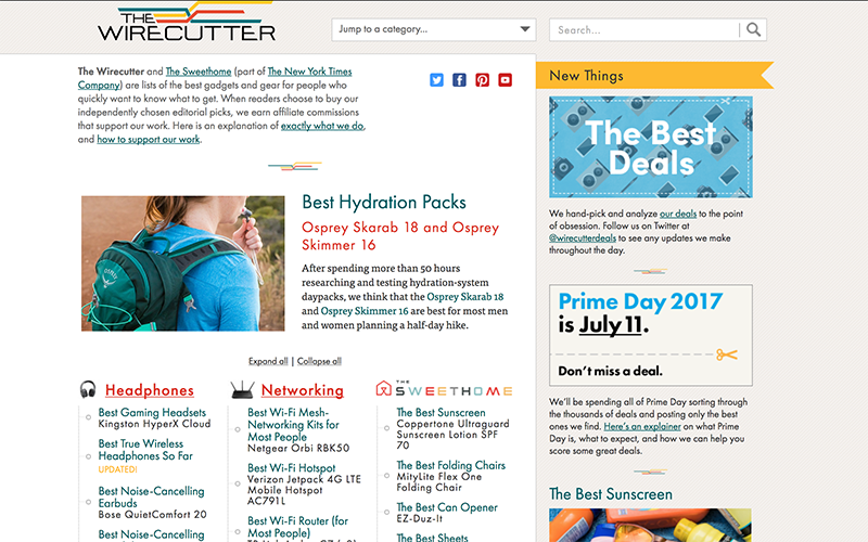 TheWireCutter Amazon Affiliate Site