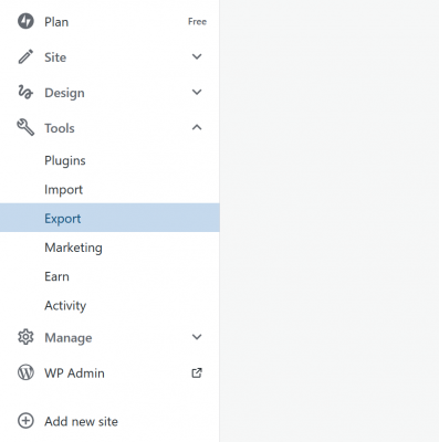 WordPress.com Export Options
